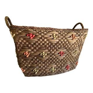 Seagrass Lined Organizational Boho Basket For Sale