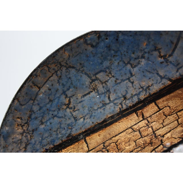 Metal Modernist Blue, White and Gold Enamel on Copper Dish For Sale - Image 7 of 10