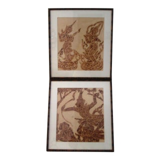 Mid-Century Thai Temple Rice Paper Rubbings - A Pair For Sale