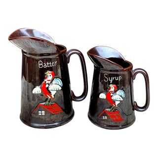 Redware Pancake & Syrup Pitchers - 2 Piece Set For Sale