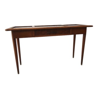 Mid-Century Modern Wood With Tinted Glass Inserts Console Table