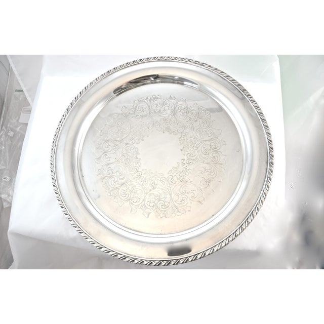 Oneida Silver Plate Chased Tray For Sale - Image 4 of 4