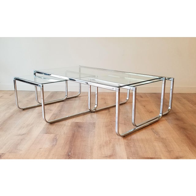 1970s Glass and Chrome Coffee Table With Nesting Side Tables Made in Italy For Sale - Image 10 of 10