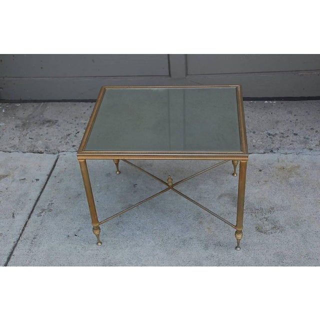 Elegant Gold Side Table With Antique Mirrored Glass For Sale - Image 4 of 7