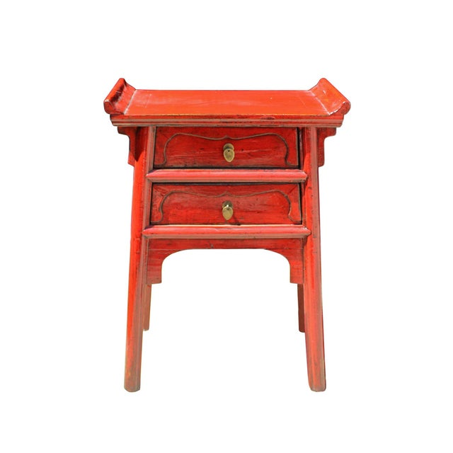 Asian Chinese Distressed Red Point Edge Narrow Slim Foyer Side Table For Sale - Image 3 of 7