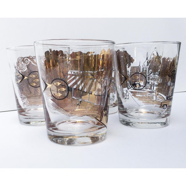 French Mid Century Bar Glasses - Set of 4 Black and Gold French Drinking Glasses For Sale - Image 3 of 6