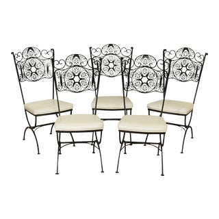 Woodard Andalusian Black Wrought Iron, Dining Chairs - Set of 5 For Sale