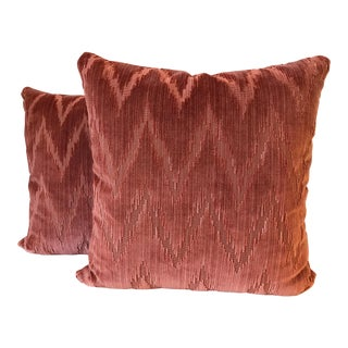 Lee Jofa Holland Flame Stitch Velvet Pillows - A Pair For Sale