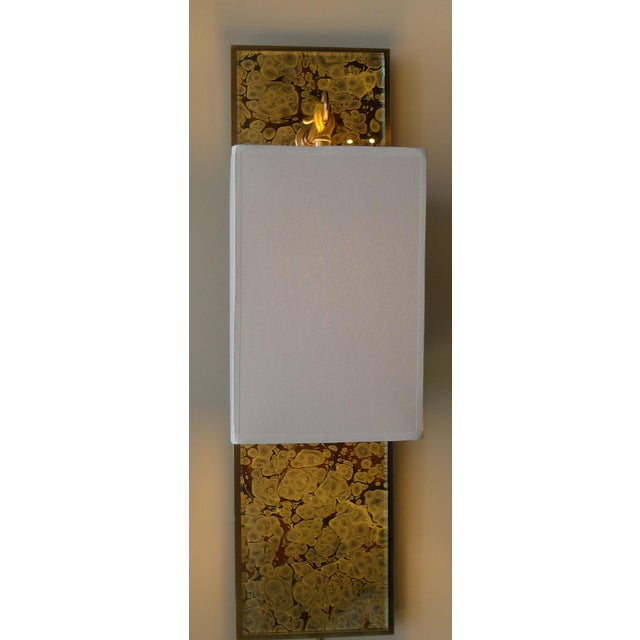 Modern Brass and Marbleized Wall Sconce V2 by Paul Marra For Sale - Image 10 of 13