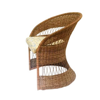 Vintage Sculpted Rattan Fan Back Chair Barrel Back Boho Chair For Sale