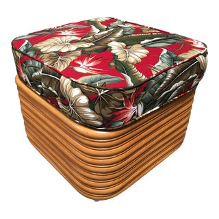 Stacked Rattan Ottoman For Sale