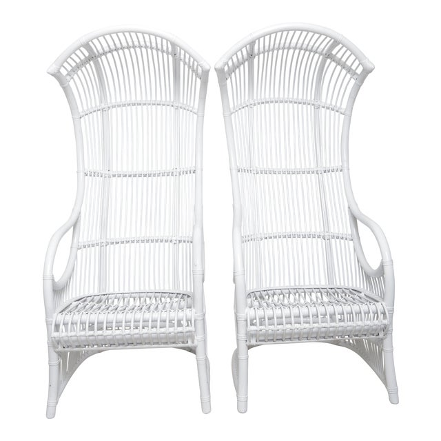 Pair of White Vintage High Back Cane Hooded Chairs For Sale