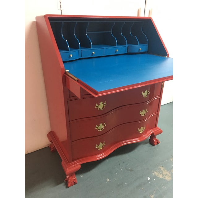 Asian Chinese Red Lacquer Flat Top Secretary Desk For Image 3 Of 6