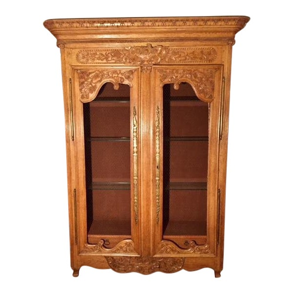 19th Century French Carved 2 Door Chicken Wire Vitrine For Sale