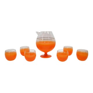Mid-Century Orange Ombre Pitcher and Glass Set - 7 Piece Set For Sale