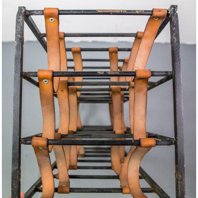 Mid-Century Modern Pair of Iron and Leather Wine Racks by Arthur Umanoff, 1950s For Sale - Image 3 of 9