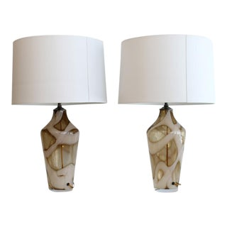A Beautiful Pair OF Abstract Murano Glass Table Lamps. For Sale