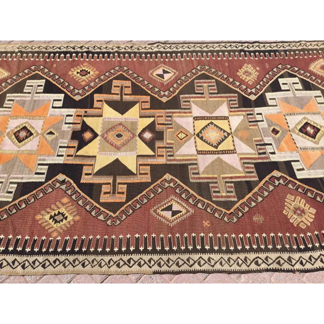 Islamic Large Brown Turkish Kilim Runner For Sale - Image 3 of 11