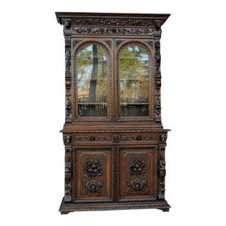 Antique French Oak Bookcase Hunt Cabinet Black Forest Dogs Lions Renaissance 19th C For Sale