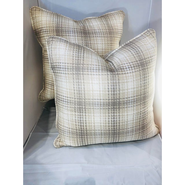 """Kenneth Ludwig Chicago 20"""" Square Plaid Robert Allen Pillows - a Pair For Sale - Image 4 of 9"""