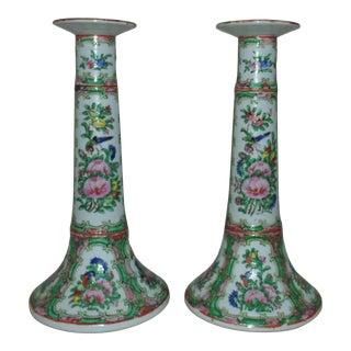 Porcelain Candlesticks Chinese Export Rose Medallion Candle Holders - a Pair For Sale
