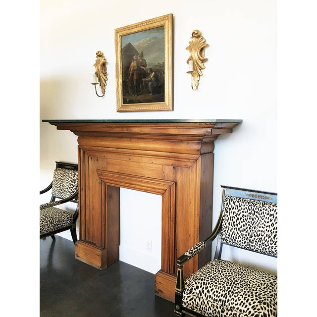 Edwardian Antique Mahogany Fireplace Mantel With Green Marble Top For Sale - Image 3 of 9
