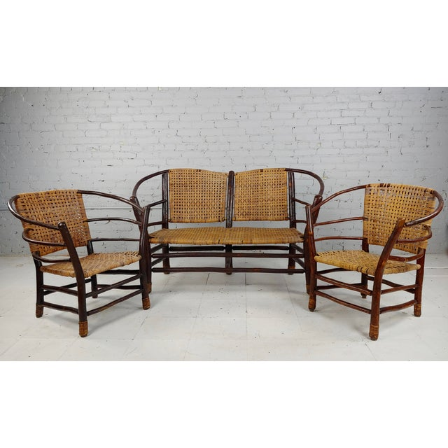 """Antique 1920s Bentwood Settee and Chairs -Salon set of 3 Settee size 54 x 19 x 35"""" seat height 16"""" Chairs Size 29 x 18 x..."""