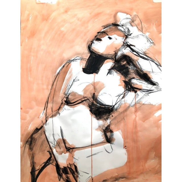 """Orange Contemporary Figure Drawing in Orange and Black, """"Gloria Gesture in Orange"""" by David O. Smith For Sale - Image 8 of 12"""