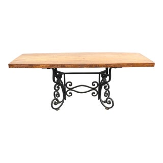 20th Century Folk Art Carved Wood & Iron Base Dining Table For Sale