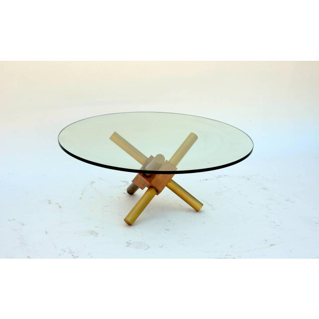 Small Round Tripod Brass and Glass Coffee Table For Sale - Image 4 of 7