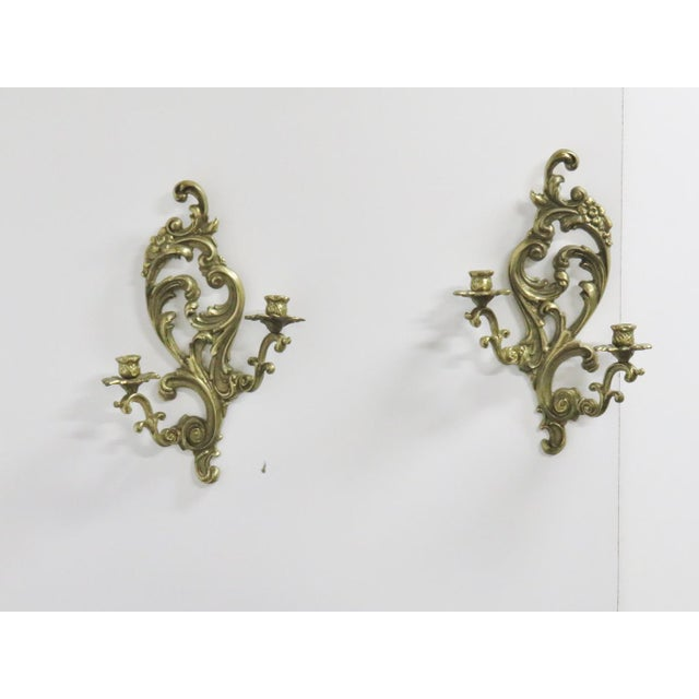 Late 19th Century French Style Brass Sconces - a Pair For Sale - Image 5 of 5