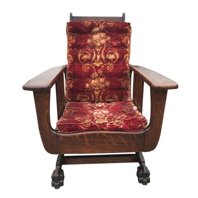 Antique Arts & Crafts Mission Tiger Oak Reclining Morris Rocking Chair For Sale