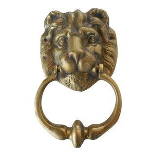 Vintage Brass Lion Head Door Knocker For Sale