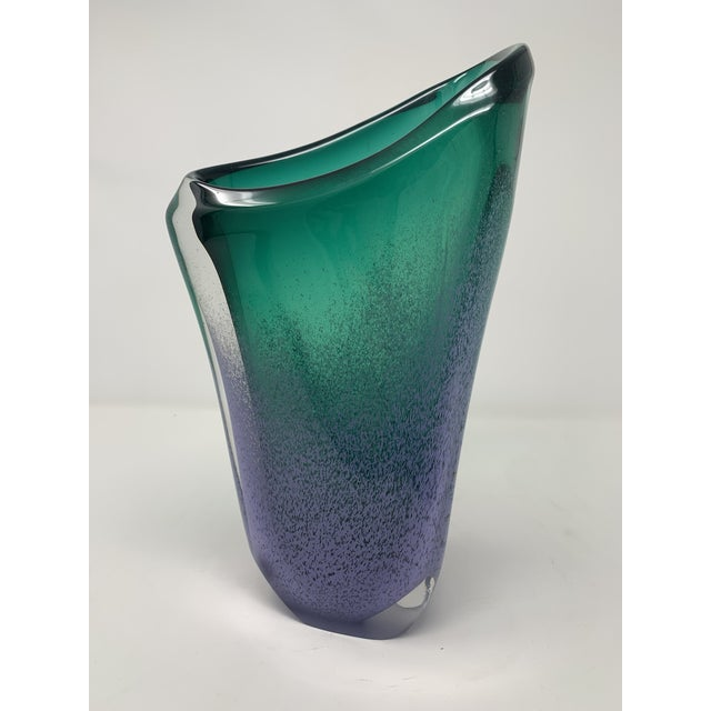 Stunning periwinkle blue and emerald green Murano vase.