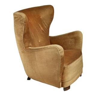 Mogens Lassen style lounge chair with velour upholstery, Denmark, 1940s For Sale