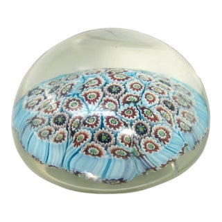 Vintage Murano Style Glass Art Turquoise Millefiori Paperweight For Sale