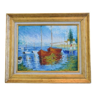 Nautical Seascape Grouping of Sailboats in Harbor Oil Painting For Sale