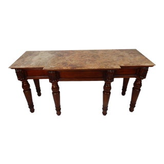 Baker Furniture Marble Top Carved Console