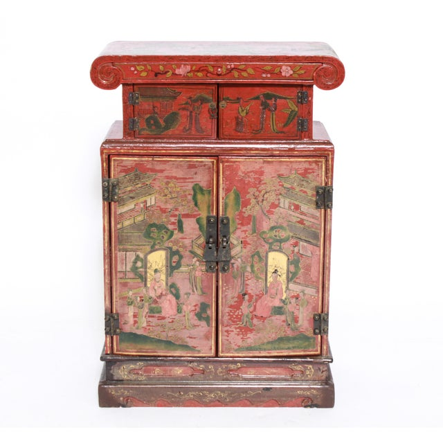 Wood Chinoiserie Diminutive Cabinet With Painted Scenes For Sale - Image 7 of 7