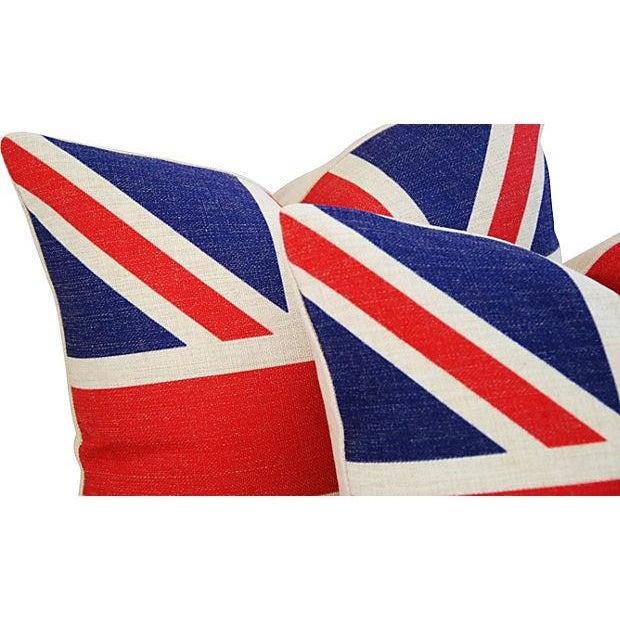 British Union Jack Linen Pillows - A Pair - Image 4 of 7