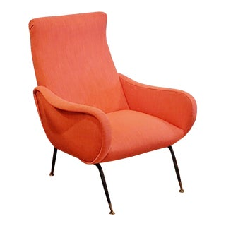 1950s Vintage Marco Zanuso Style Italian Lounge Chair For Sale