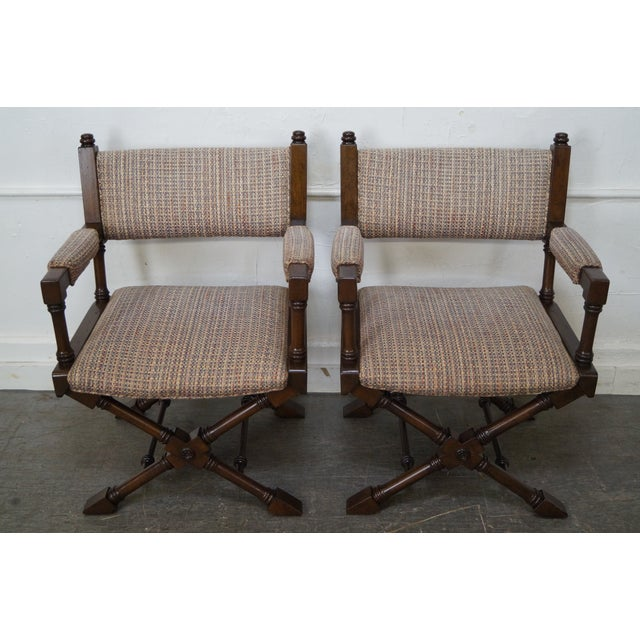 A quality set of 4 X-base directors' armchairs. AGE/COUNTRY OF ORIGIN: Approx 30 years, America DETAILS/DESCRIPTION: High...
