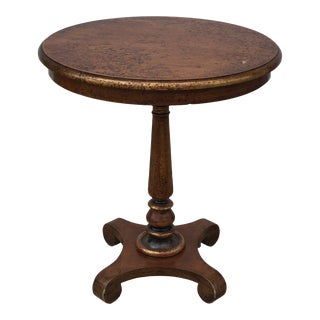 1940s French Country Hand-Painted and Burlwood Side Table For Sale
