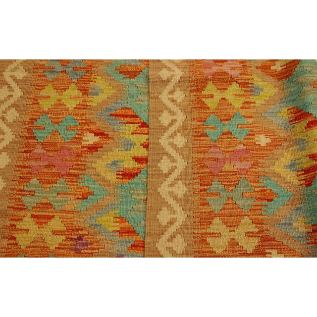 Textile Era Red/Green Hand-Woven Kilim Wool Rug -4'3 X 5'10 For Sale - Image 7 of 8