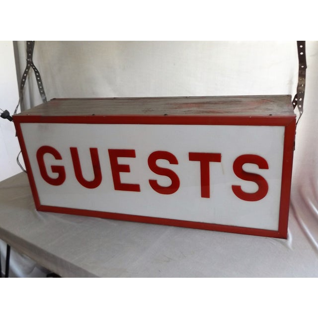 """Vintage Double-Sided Lit """"Guests"""" Sign - Image 5 of 10"""