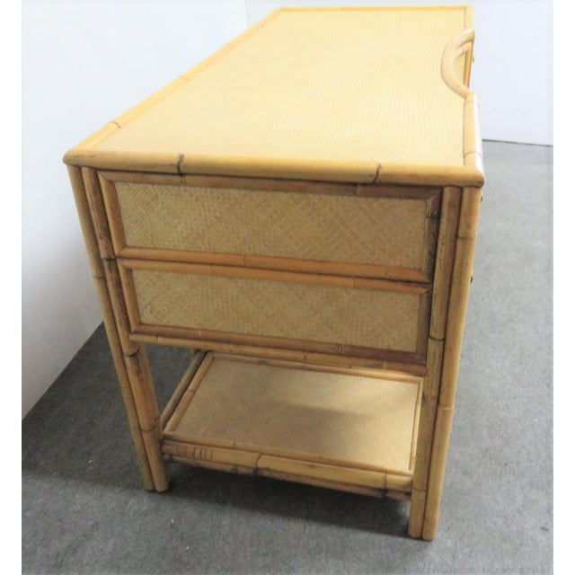 Traditional Victorian Style Bamboo & Woven Desk For Sale - Image 3 of 7