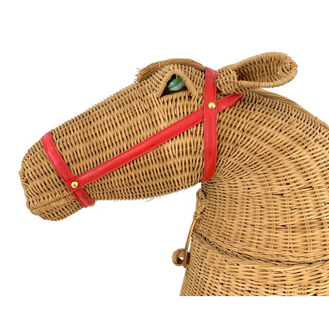 Boho Chic 1970s Vintage 2-Piece Wicker Horse Hamper For Sale - Image 3 of 8