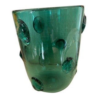 Mid-Century Murano Green Glass Vase For Sale