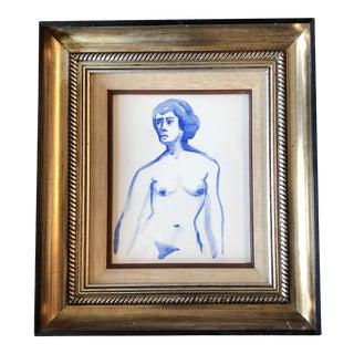 Vintage Original Female Nude Blue Watercolor Painting Vintage Frame 1970's For Sale