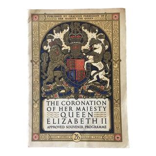Commemorative Coronation Program Queen Elizabeth II For Sale